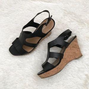 Franco Sarto Collette Leather Cork Wedges Sz 7